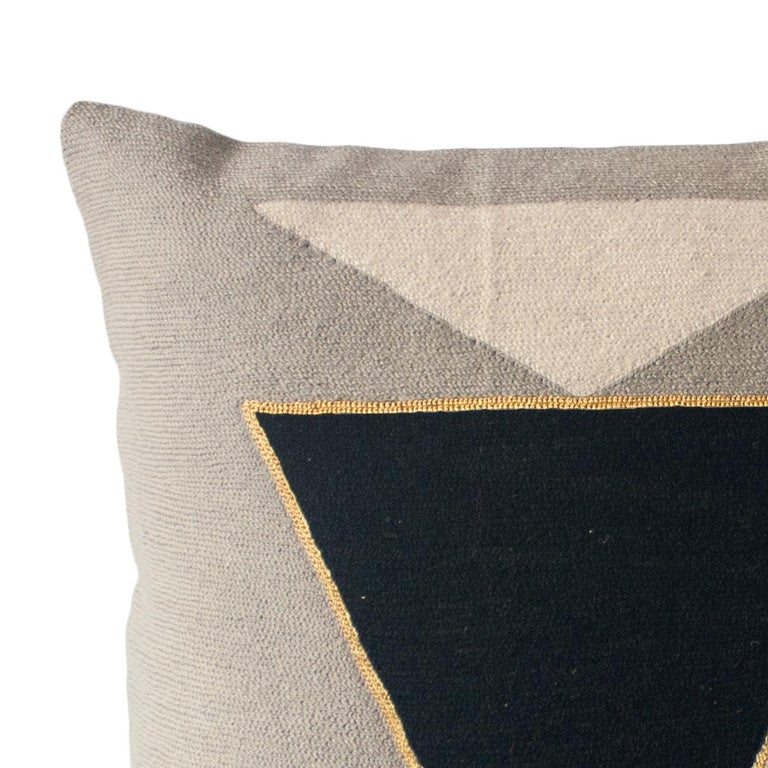 Indian Modern Midnight Jewel Hand Embroidered Geometric Throw Pillow Cover