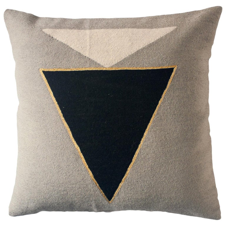 Modern Midnight Jewel Hand Embroidered Geometric Throw Pillow Cover