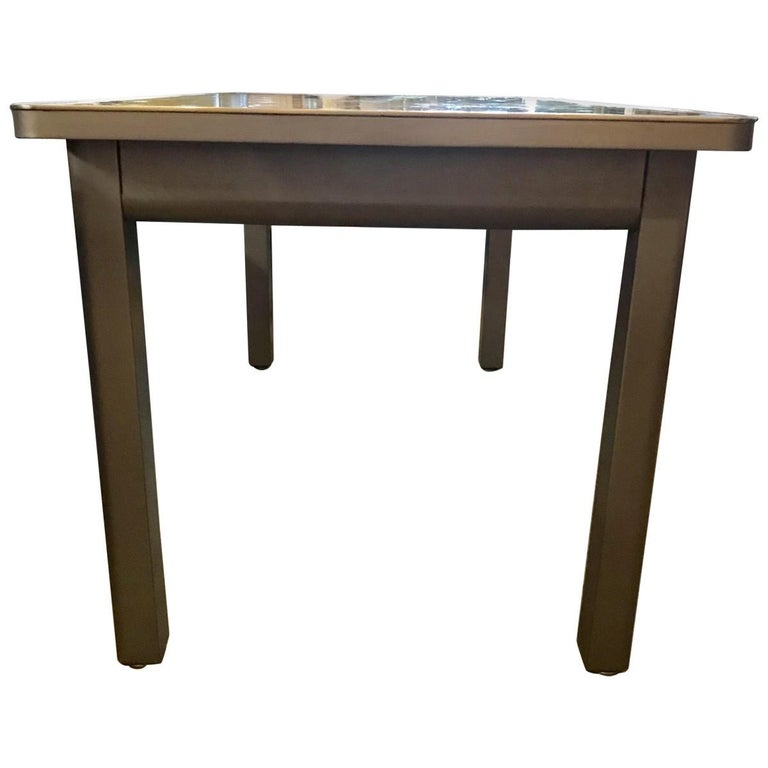 Modern Military Style Steel Writing Desk In Excellent Condition For Sale In Pasadena, CA