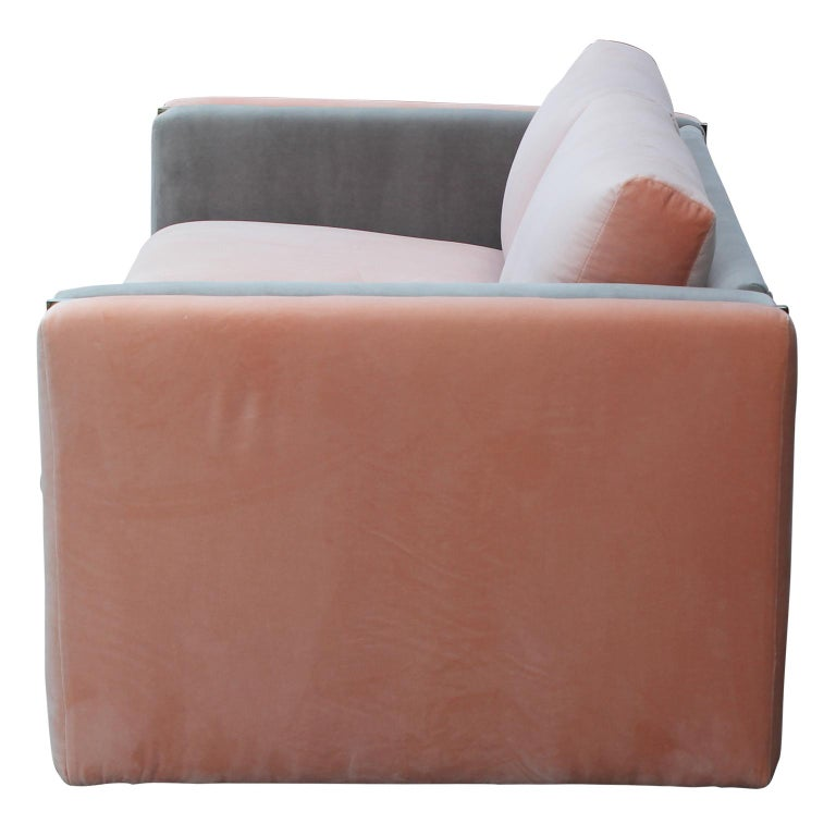 Mid-20th Century Modern Milo Baughman for Thayer Coggin Pink and Grey Velvet Two Tone Sofa For Sale