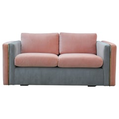 Modern Milo Baughman for Thayer Coggin Pink and Grey Velvet Two Tone Sofa
