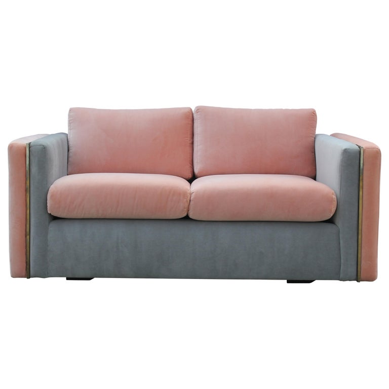 Modern Milo Baughman for Thayer Coggin Pink and Grey Velvet Two Tone Sofa For Sale