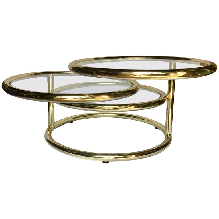 Glass Swivel Coffee Table.Modern Milo Baughman Pace Style Articulating Brass And Glass Swivel Coffee Table