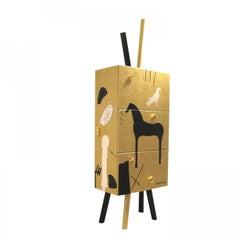 Modern Mimmo Paladino Cabinet Storage Gold Leaf Handmade Limited Edition