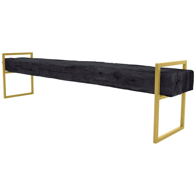 "Modern Minimal ""Brass Bench"" Reclaimed Structural Oak Beams on Brass Frame For Sale"