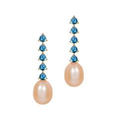 Modern minimalist 4mm 5 Stone Baroque Pearl Earrings London Blue Top 18 K Gold