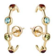 Modern Minimalism Ear-Cuff Earrings in Rainbow Color Gemstones, 18K Yellow Gold