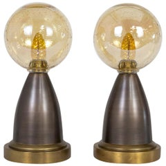 Modern Minimalist Brass Lamps with Amber Seeded Glass Globe Shades 'Pair'