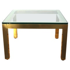 Modern Minimalist Metal Coffee or Cocktail Table with Square Glass Top