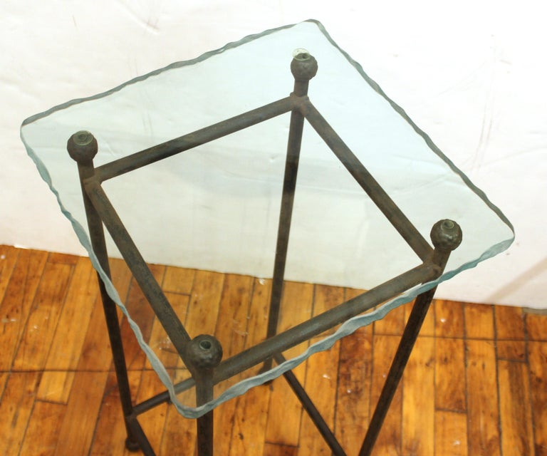 Modern Minimalist Metal & Glass Side Tables or Pedestals For Sale 9