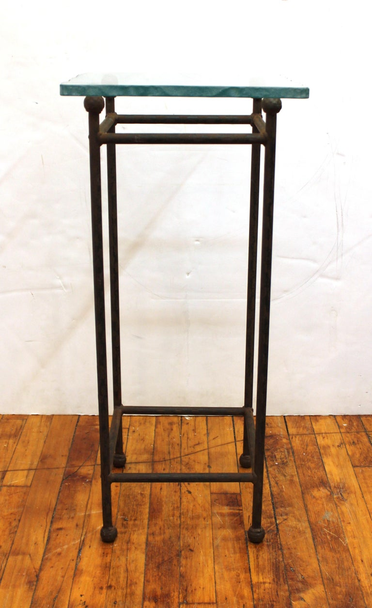 Modern Minimalist Metal & Glass Side Tables or Pedestals In Good Condition For Sale In New York, NY