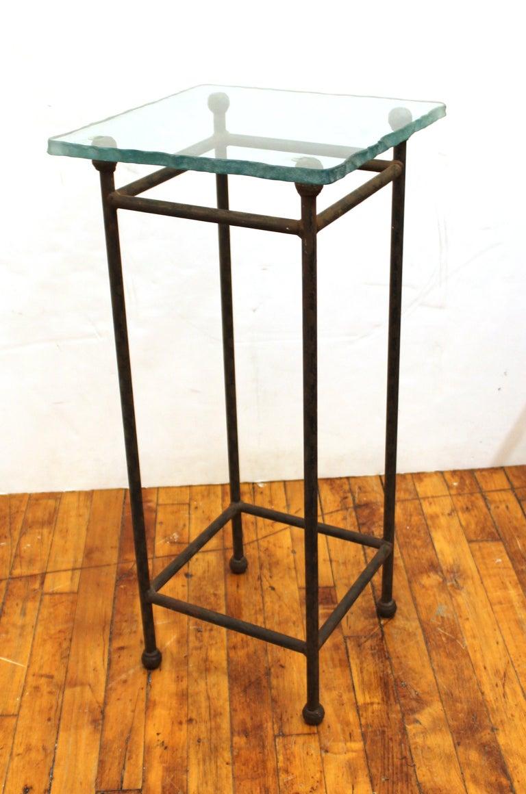 Modern Minimalist Metal & Glass Side Tables or Pedestals For Sale 1