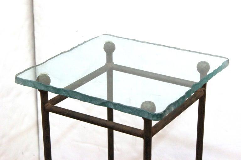 Modern Minimalist Metal & Glass Side Tables or Pedestals For Sale 2