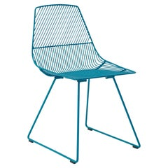 Modern Minimalist Side Chair, Ethel Chair in Peacock Blue by Bend Goods