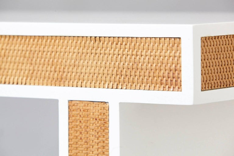 Modern Minimalistic Console with Rattan Siding in New Dove White Gloss Lacquer For Sale 2