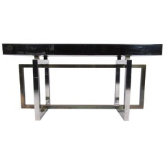 Modern Mirror and Brass Finish Console Table
