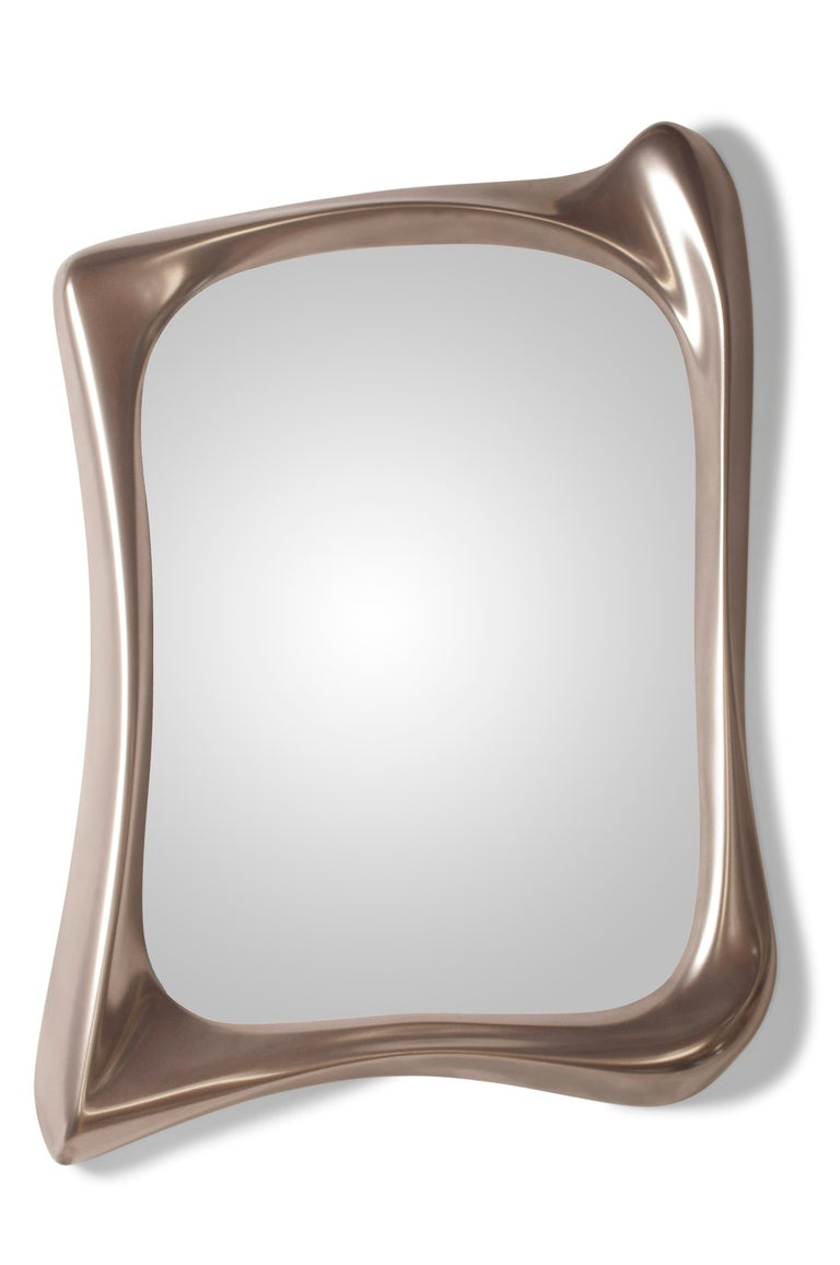 Lacquered Modern Mirror Frame Solid Wood Organic Shape Natural Stain For Sale