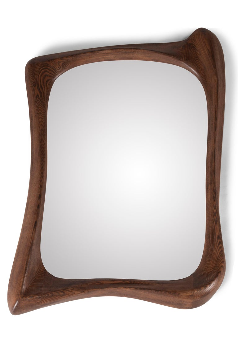 Modern Mirror Frame Solid Wood Organic Shape Natural Stain In New Condition For Sale In Gardena, CA