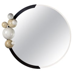 Modern Mirror with Four Spheres in Polished Marble with Incorporated Light