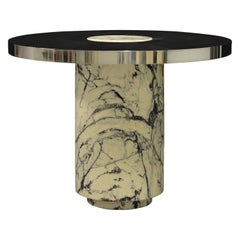 Modern Mirrored Stainless Steel Table with Solid Paonazzetto Marble Base