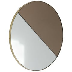 Modern Mixed Tints Dualis Orbis Round Mirror with Brass Frame, Small
