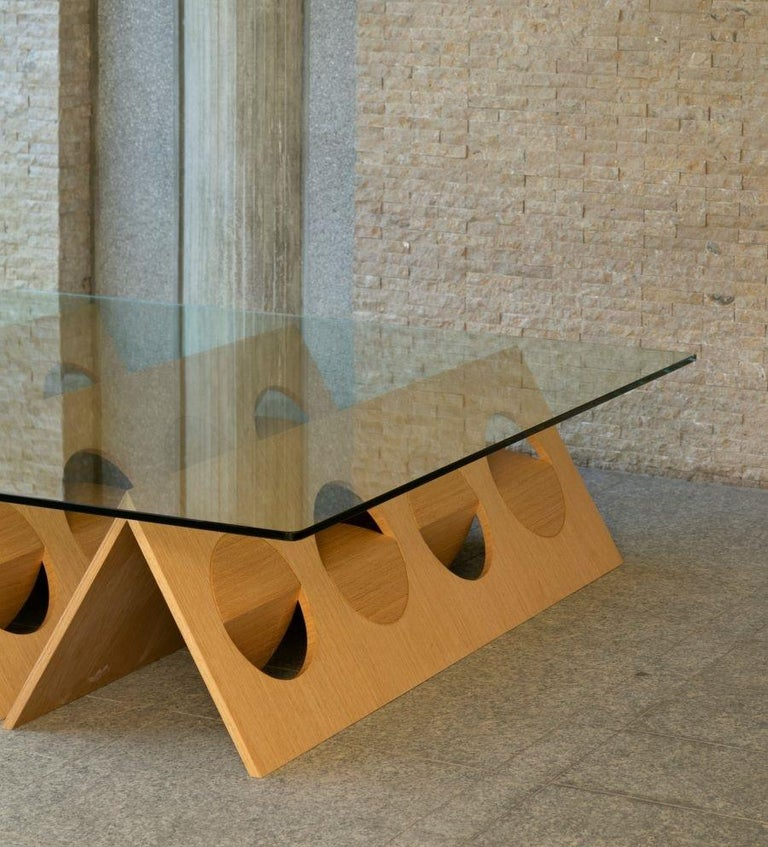 """Inverted pyramids coffee table Baltic birch plywood with quarter cut white oak veneer Tempered glass 3/8"""" Designed by Ana Volante Dimensions each pyramid 43cm (H) x 170cm (W) x 170cm (D) 16.9"""