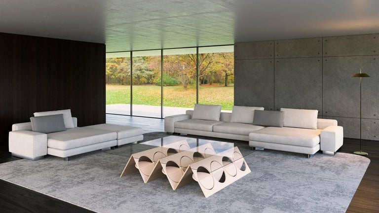 Tempered Modern Modular Coffee Table Oak Wood Glass on top by Ana Volante in Stock For Sale