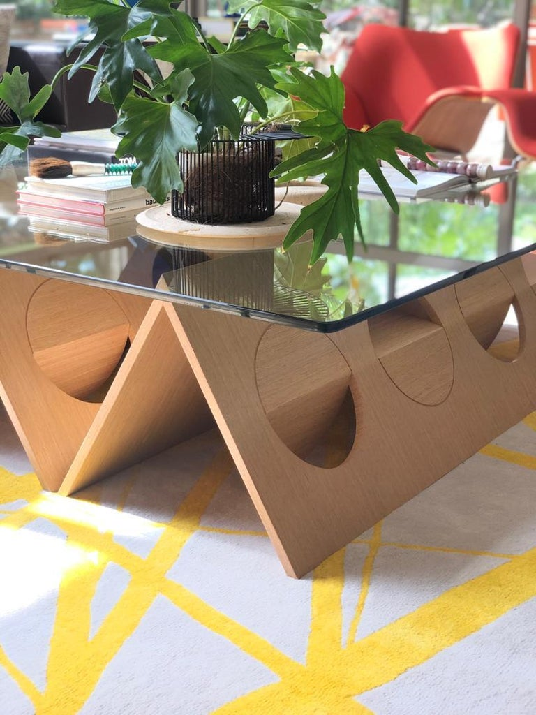 Modern Modular Coffee Table Oak Wood Glass on top by Ana Volante in Stock In New Condition For Sale In Miami, FL