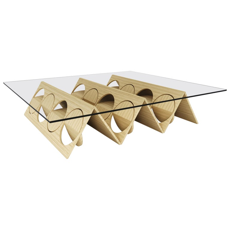 Modern Modular Coffee Table Oak Wood Glass on top by Ana Volante in Stock For Sale