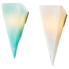 Modern Mold Blown Glass Celadon and White Pavilion Sconce