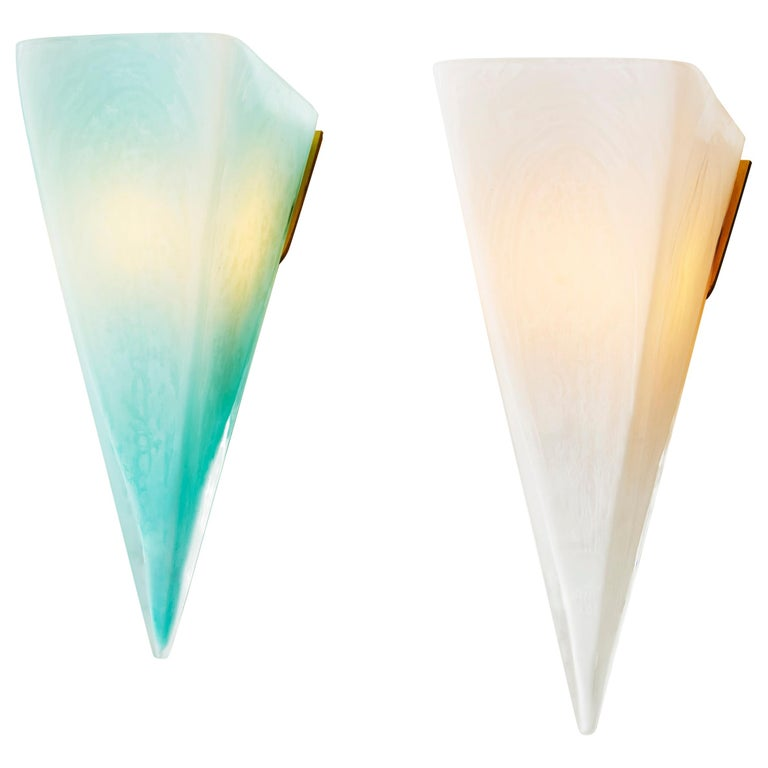 Modern Mold Blown Glass Celadon and White Pavilion Sconce For Sale