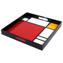 Modern Mondrian Style Lacquered Wood Serving Tray