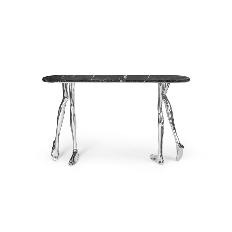 Portuguese Modern Monroe Chromed Art Console Table, Nickel Brass and Black Marble Top For Sale