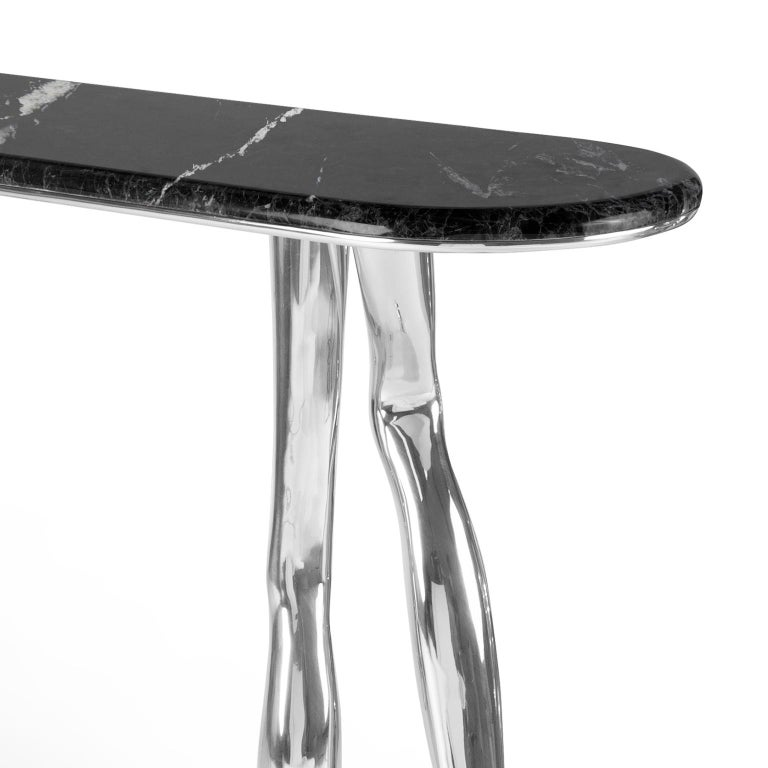 Modern Monroe Chromed Art Console Table, Nickel Brass and Black Marble Top In New Condition For Sale In Oporto, PT