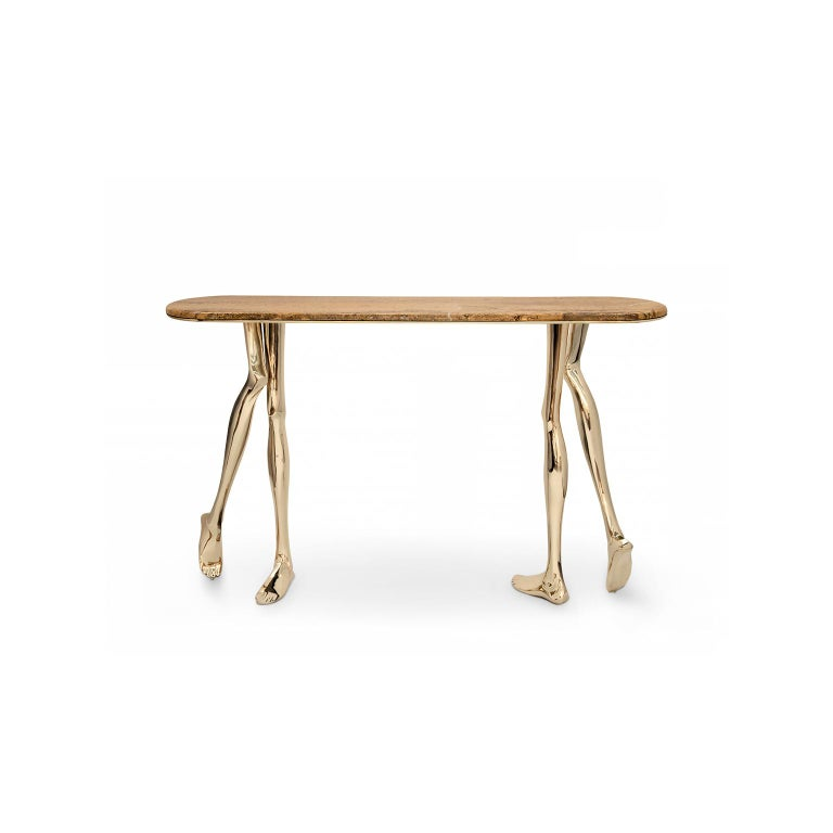 """1. Product description:  The """"Monroe"""" console table is made of polished brass cast with a Yellow Travertine marble complementing the set. After smelting, a process known for thousands of years widely used in brass and bronze sculptures and precious"""