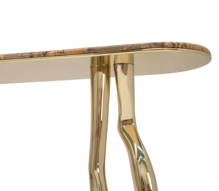 Portuguese Modern Monroe Console Table in Polished Brass and Yellow Travertine Marble For Sale