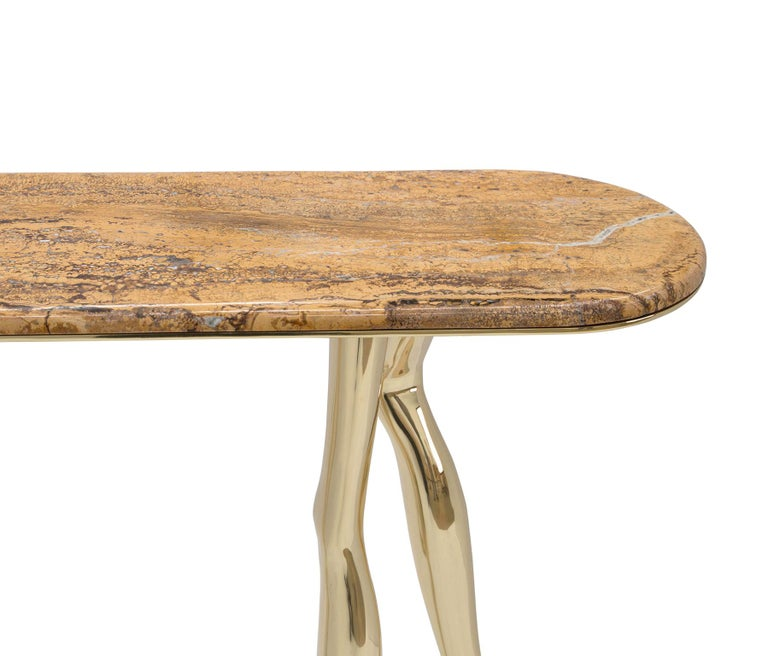 Cast Modern Monroe Console Table in Polished Brass and Yellow Travertine Marble For Sale