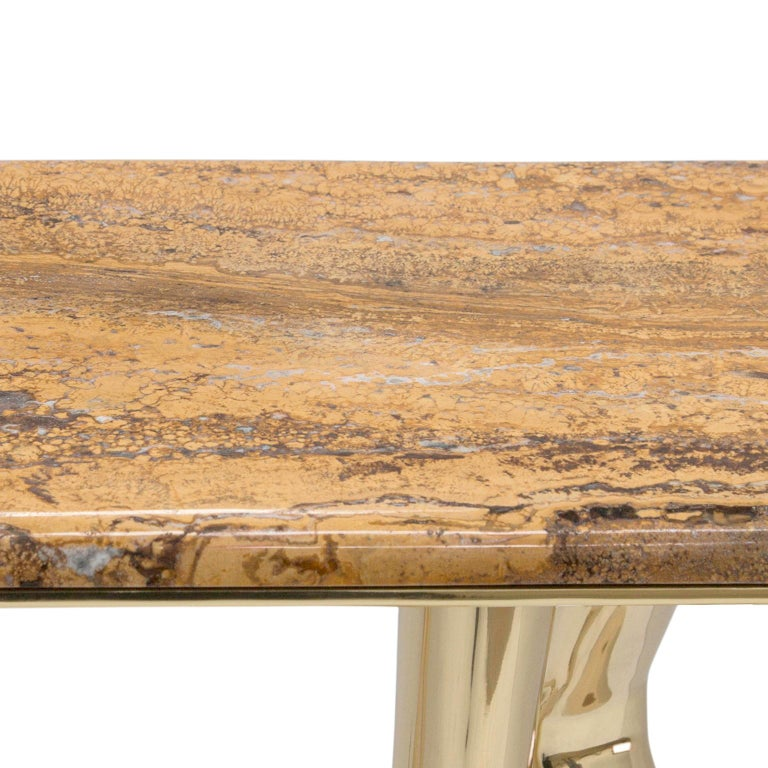 Modern Monroe Console Table in Polished Brass and Yellow Travertine Marble In New Condition For Sale In Oporto, PT