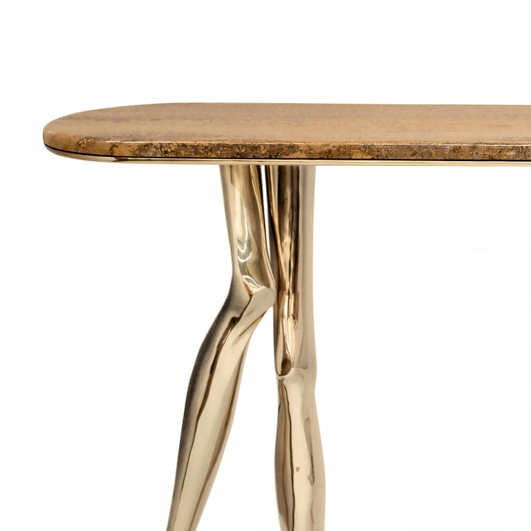 Contemporary Modern Monroe Console Table in Polished Brass and Yellow Travertine Marble For Sale