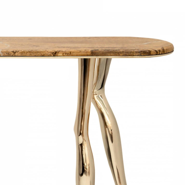 Modern Monroe Console Table in Polished Brass and Yellow Travertine Marble For Sale 1