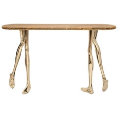 Modern Monroe Console Table in Polished Brass and Yellow Travertine Marble
