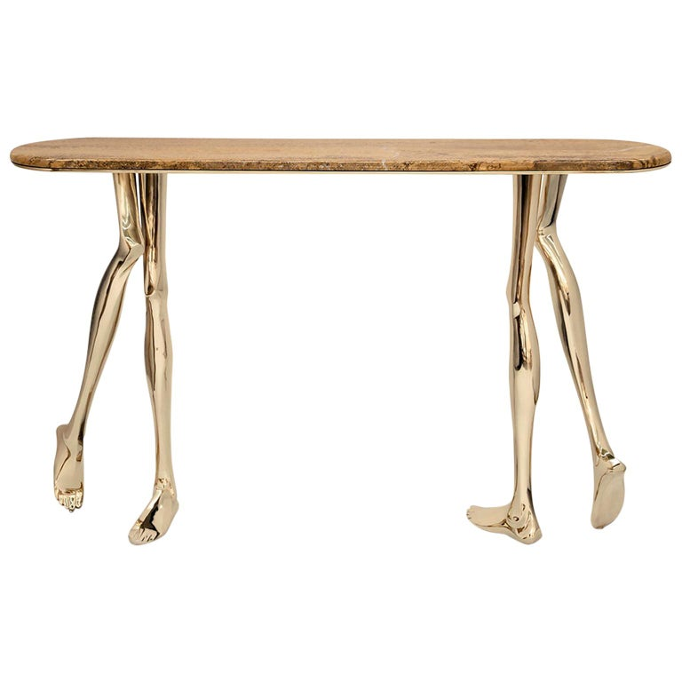 Modern Monroe Console Table in Polished Brass and Yellow Travertine Marble For Sale