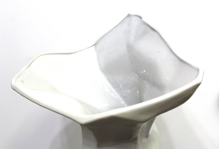 20th Century Modern Monumental Ceramic Floor Vase with Angular Body For Sale