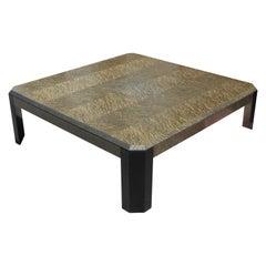 Modern Monumental Silver Grey Two-Tone Square Burl Coffee Table