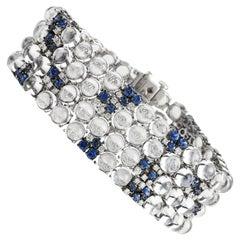 Modern Moonstone Diamond Sapphire 18 Karat Gold Wide Bracelet