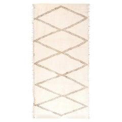 Modern Moroccan Beige and Brown Handmade Wool Rug