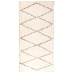 Modern Moroccan Beige & Brown Hand Knotted Wool Rug