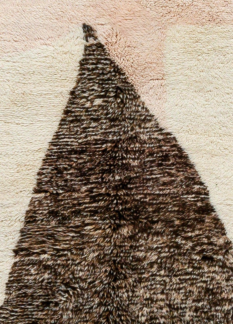 Modern Moroccan beige, brown & pink hand knotted wool rug Size: 8'3