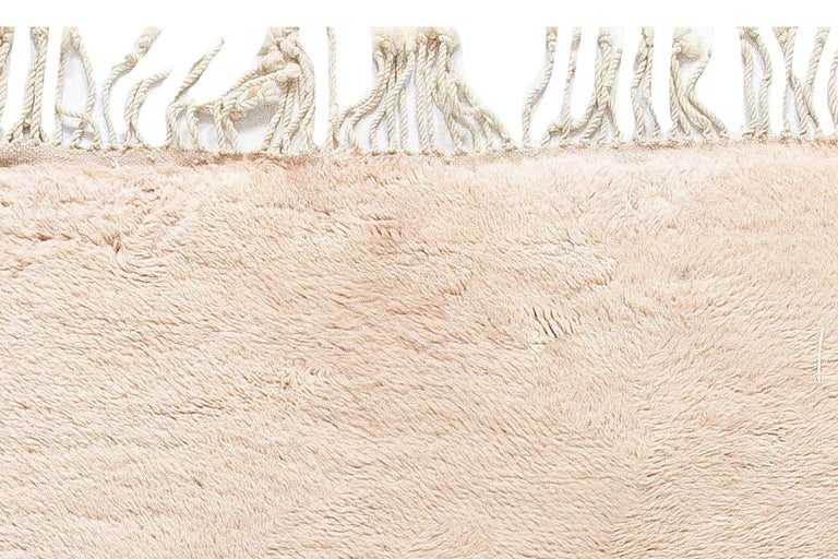 Modern Moroccan Beige, Brown & Pink Hand Knotted Wool Rug 1