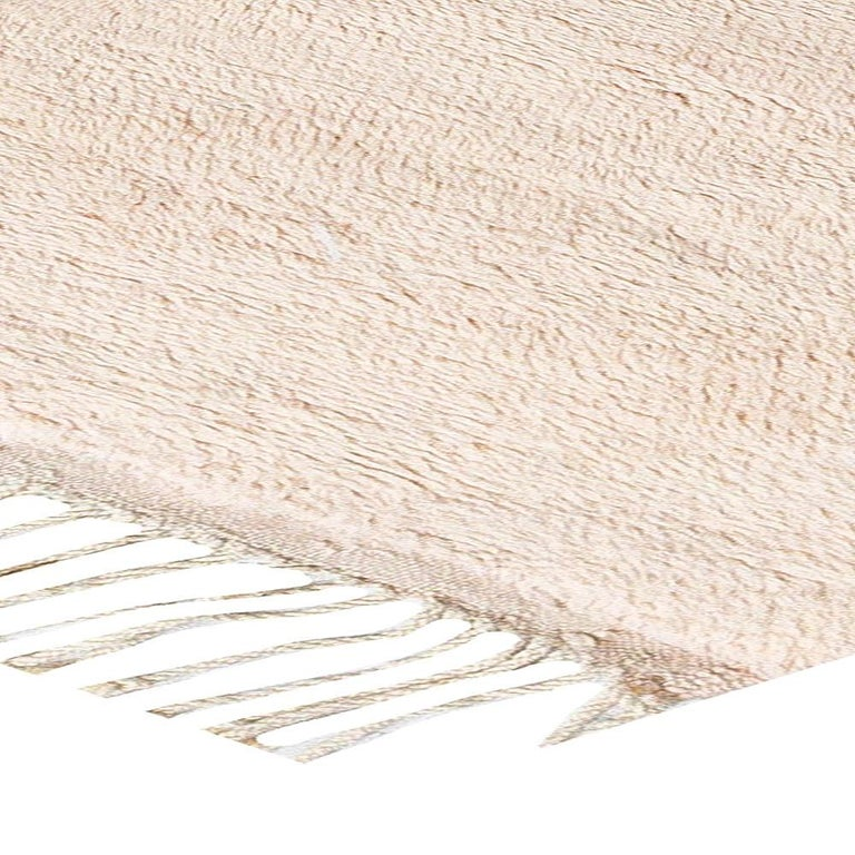 Modern Moroccan Beige, Brown & Pink Hand Knotted Wool Rug For Sale 3